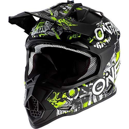 O'NEAL | Casco de Motocross | MX Enduro | ABS Shell, Estándar de Seguridad ECE 2205, Óptima ventilación y refrigeración | 2SRS Casco de Ataque Juvenil | Niños | Negro Neón Amarillo | Talla S