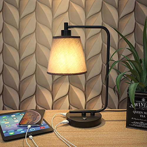 Bedside Lamp with USB Port,3-Way Dimmable Industrial Nightstand Lamp, Touch Control Table Lamp for Bedroom ,Gray Cloth Lampshade,Including 6W LED Bulb, for Living Room, Office, Black Base