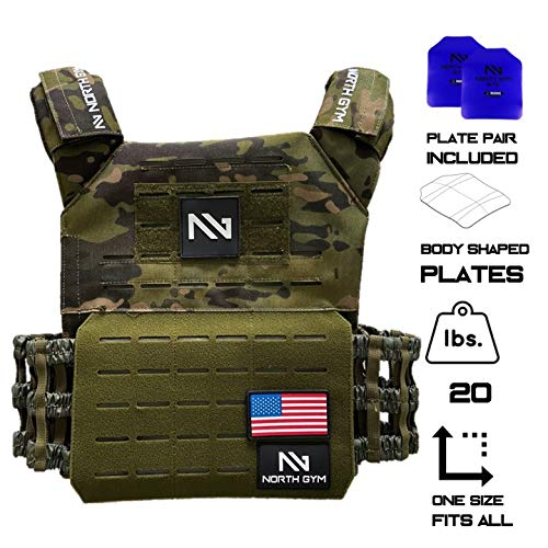 North Gym Adjustable Weighted Vest/Incl. 2 Innovative Moulded Weights for Best fit / 14lbs / 20lbs (Green Camo 20lbs)