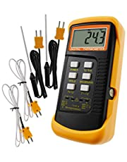 Digitale 2-kanaals K-type thermometer met 4 thermokoppels (bedraad en roestvrij staal), -50~1300 ° C (-58~2372 ° F) Handheld desktop Hoge temperatuur Kelvin-schaal Dubbele meetmetersensor