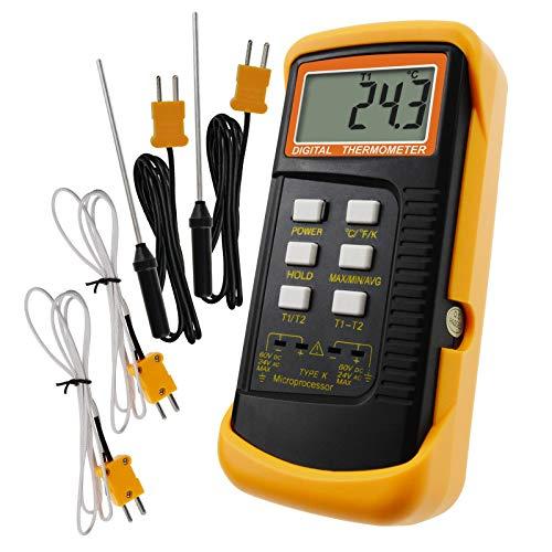 Termómetro Digital Tipo K De 2 Canales Con 4 Termopares (cableados Y Acero Inoxidable), -50~1300 ° C (-58~2372 ° F)