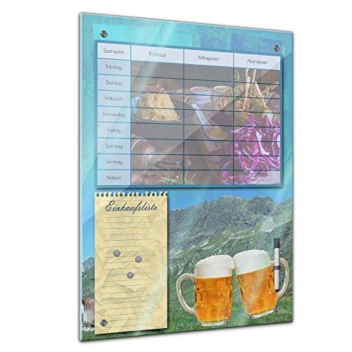 Memoboard 60 x 80 cm, Planer - Brotzeit - Memotafel Pinnwand Essensplaner für die ganze Familie - Essenplaner - Übersicht - Wochenplaner - Kochen - Essen planen - Familienplaner - Bier - deftig