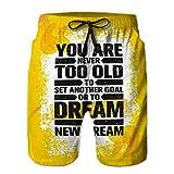 Fgdhfgjhdgf - Bañador para hombre, pantalones cortos de playa para niños con texto en inglés 'You Never Too Old to Set Another Goal To Dream New Dream Inspiring Creative Motivation 75 54