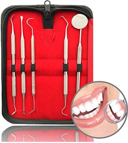 5er Dental Zahnpflege Set | Professionelle Zahnreinigung Zahnsteinentferner | Zahnsonde Mundspiegel Scaler | Aus Edelstahl