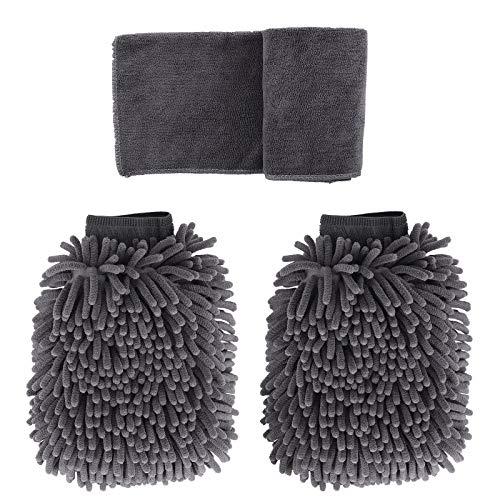 BOUNDAIR 2 Stücke Wasserdicht Mikrofaser Autowaschhandschuh und 1 Stück Microfasertuch Set Weicher Korallen Auto Chenille Waschhandschuh Handschuh mit Reinigungstuch Trokentuch für Autowäsche (Grau)