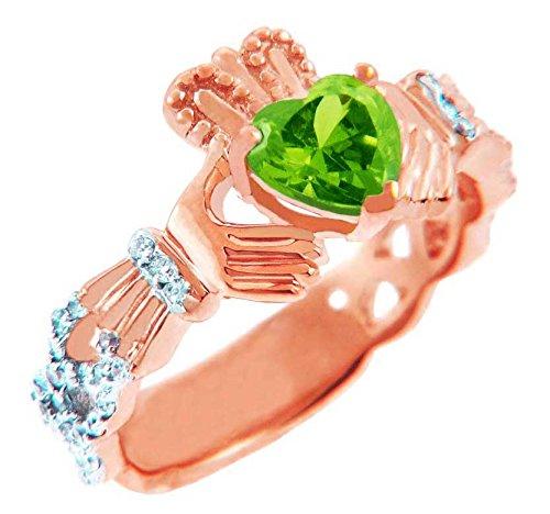 Kleine Schätze - Damen Ring/Verlobungsring/partnerring/Ehering 9 Karat Rotgold Diamant Claddagh Ring Mit 0.4 ct Peridot