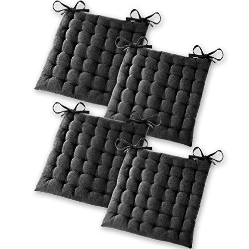Gräfenstayn® Set de 4 Cojines, Cojines para Silla de 40 x 40 x 5 cm para Interior y Exterior de 100% algodón Acolchado Grueso/cojín para el Suelo (Negro)