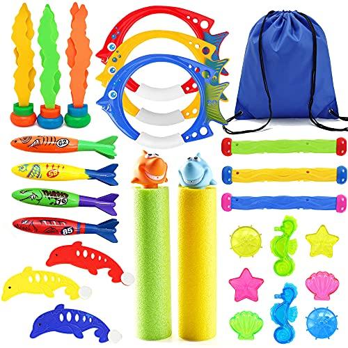 Paochocky 24 Stück Tauchen Spielzeug für Kinder Tauchspielzeug Set enthält Tauchringe Tauchstöcke Toypedo Bandits, Unterwasser Schwimmbad Spielzeug idealesGeschenk im Sommer für Jungs und Mädchen