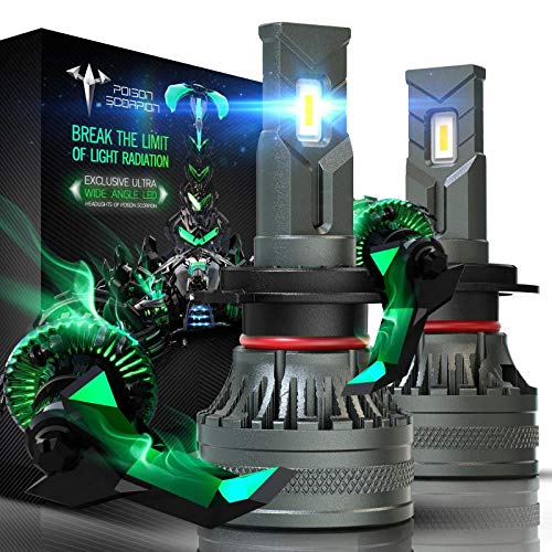 POISON SCORPION H7 LED Headlight Bulbs | Extremely Bright CREE Chips 10000LM 6000K Super Wide Angle | 360 Degree Adjustable Beam Conversion Kit