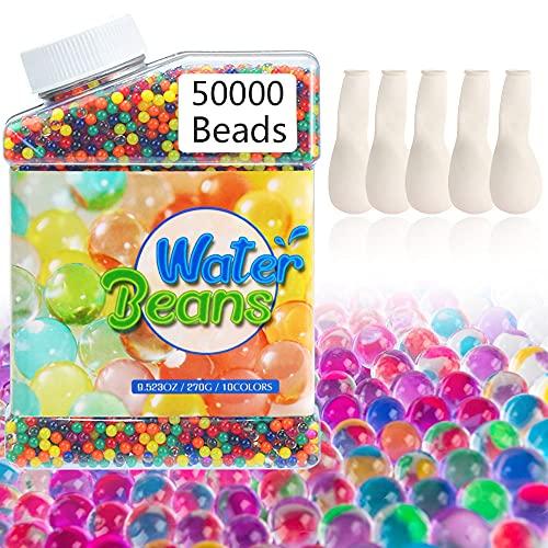 WAKNOER Wasserperlen, Regenbogen-Mix-Perlen mit 5 Luftballons, Gelperlen für Spa-Nachfüllung, kindersicheres sensorisches Spielzeug, Vasen, Pflanzen, Hochzeiten und Heimdekoration (50000, 9–11 mm)