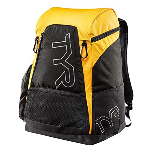 TYR Alliance 45L Backpack - Black/Gold + Name - Personalised Swimming Backpack