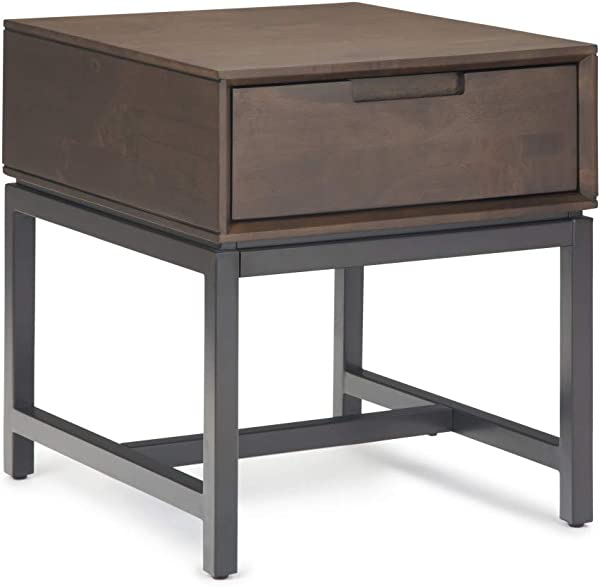 Simpli Home AXCBAN 02 Banting Solid Hardwood And Metal 20 Inch Wide Modern Industrial End Table In Walnut Brown