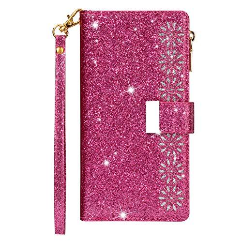 Funda para Samsung A20e, con cremallera, de piel sintética, con 9 ranuras para tarjetas, función atril, color rosa