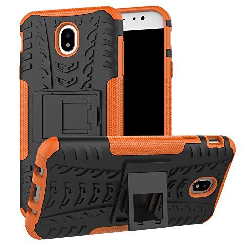 pinlu Funda para Samsung Galaxy J7 2017 (Euro Version) J730 Smartphone Doble Capa Híbrida Armadura Silicona TPU + PC Armor Heavy Duty Case Duradero Protección Neumáticos Patrón Naranja