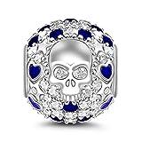 GNOCE Abalorio con circonita cúbica azul, diseño de calavera y mariposa, compatible con pulseras y collares, regalo para mujeres y niñas