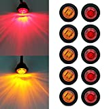 ' Purishion 10x 3/4'' Round LED Clearence Light Front Rear Side Marker Indicators Light for Truck Car Bus Trailer Van Caravan Boat, Taillight Brake Stop Lamp (12V, Red+Amber)