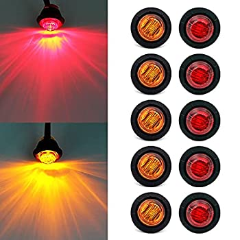Purishion 10x 3/4   Round LED Clearence Light Front Rear Side Marker Indicators Light for Truck Car Bus Trailer Van Caravan Boat Taillight Brake Stop Lamp  12V Red+Amber
