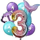 DIWULI, Gran Juego de Globos Sirena, 1x XL número 3 número de Globo + 2X Globo de Aluminio + 4X Globo de látex 3º cumpleaños de niño niña, Fiesta de Lema, decoración