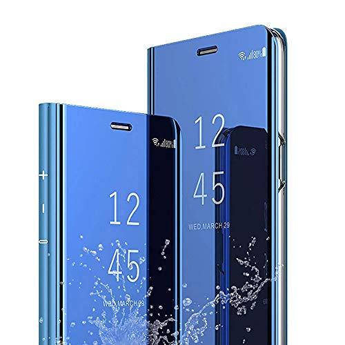 Funda para teléfono móvil compatible con Samsung Galaxy S8, carcasa fina de policarbonato rígido de poliuretano, con efecto espejo, con función atril, color azul