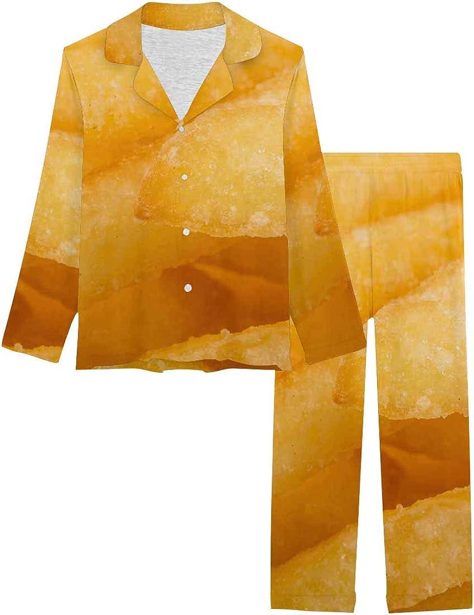 InterestPrint Long Sleeve Nightwear Button Down Loungewear for Women Fried French Fry Potatoes Closeup for Background