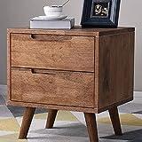 HappyL Vintage Walnut mesita de Noche con cajones de Almacenamiento manija Grande Fin Mesa Decorativa Muebles Groove Dresser Vida sofá de la Tabla (Color : Walnut, Size : 44x40x50cm)