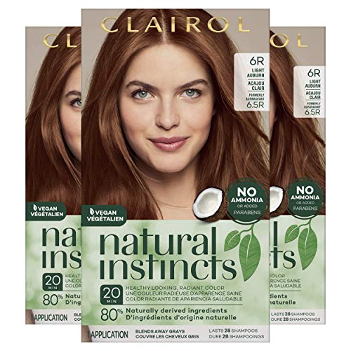 of home hair colours dec 2021 theres one clear winner Clairol Natural Instincts Semi-Permanent Hair Dye, 6R Light Auburn Hair Color, 3 Count