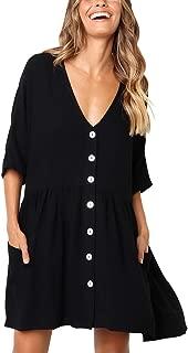 BELONGSCI Women's Casual Dress Half Sleeve Button Down V-Neck Pocketed Loose T-Shirt Dress Oversized Dress Shift Dress