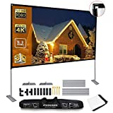 Projector Screen with Stand 120 Inch,Portable Screen for Projecor with Stand,16:9 HD 4K Projection Screen for Home Theater Cinema Indoor Outdoor Front and Rear Projection by AYAOQIANG