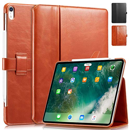 KAVAJ Case Leather Cover London works with Apple iPad Air 4 10.9' 2020 Cognac-Brown Genuine Cowhide Leather with Pencil Holder Supports Apple Pencil Slim Fit Smart Folio