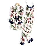 NVYISHUI Pijamas de Seda Mujeres Pijamas de Seda Traje de Tres Piezas Seda de Hielo Fresca y Atractiva Pijamas de Manga Larga de Mujer
