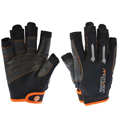 MOTIVEX® Professional Segelhandschuhe schwarz/orange, Größe XL