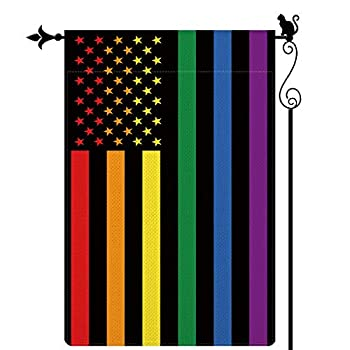 Gormcore Rainbow Garden Flag Love is Love LGBT Pride Human Rights American Flag Garden Flag Vertical Double Sided Yard Lawn Outdoor Decor 12.5x18