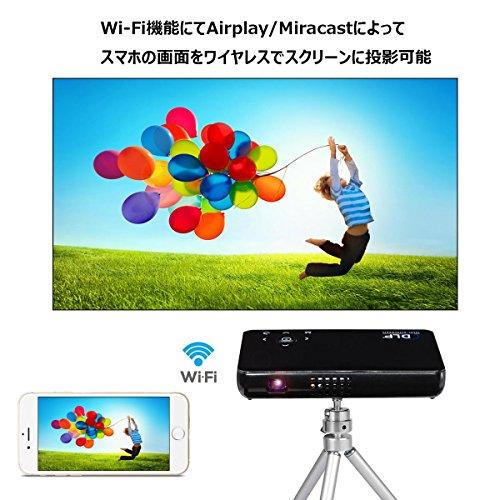 『BLUPOW DLP モバイル プロジェクター 小型 WiFi対応 Andriodシステム搭載 500ルーメン 1080P 800*480 プロジェクターホームシアター USB充電可能 iPhone/iPad/スマホ対応 三脚付き 日本語取説PDF WiFiブラック』の1枚目の画像