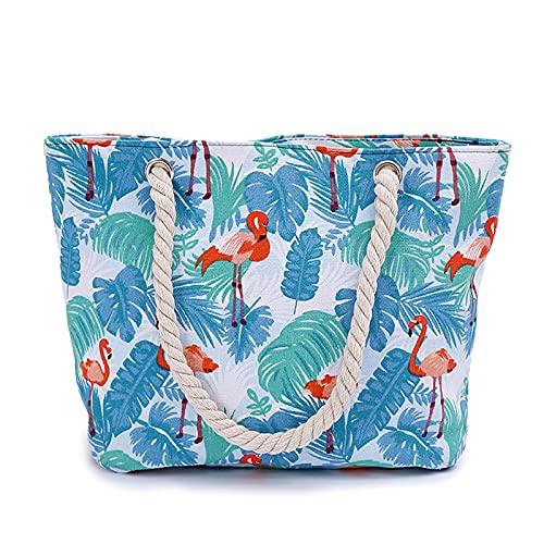 GLAITC Borsa da spiaggia grande Borsa da donna in tela Borsa da spalla estiva casual con manico in corda Borsa per la spesa con chiusura a cerniera per viaggi di vacanza al mare Uso quotidiano blue