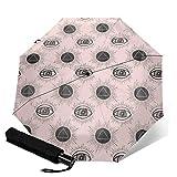 Eye Of Wisdom - Paraguas plegable automático de tres pliegues, compacto y ligero, para el sol y la lluvia