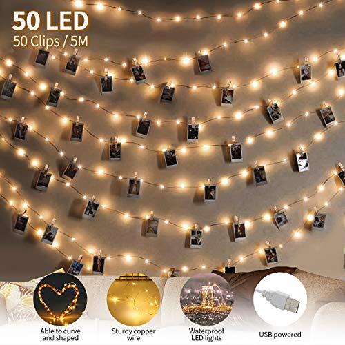 king do way 2020 Upgrade Version LED Foto Lichterkette mit Fotoclips, USB Aufladen Geringer Stromverbrauch, Lichterketten Mit 50 klammern & 5 Nägeln, dekor für innen, Weihnachtsdekoration, Hochzeit