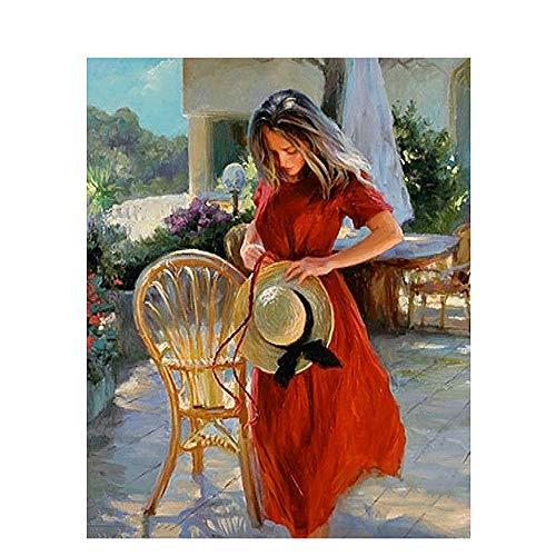 Pintura Diamante 5D Taladro Redondo Chica Roja En Silla Punto De Cruz Diamante Para Adultos Niños Decoración Del Hogar 45X60Cm
