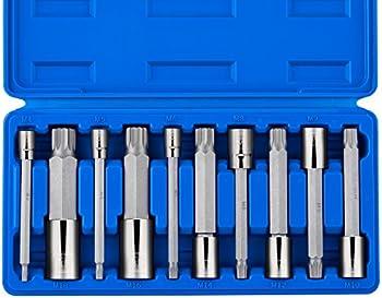 Neiko 10054A 4-Inch Extra Long XZN Triple Square Spline Bit Socket Set, S2 Steel   10-Piece Set