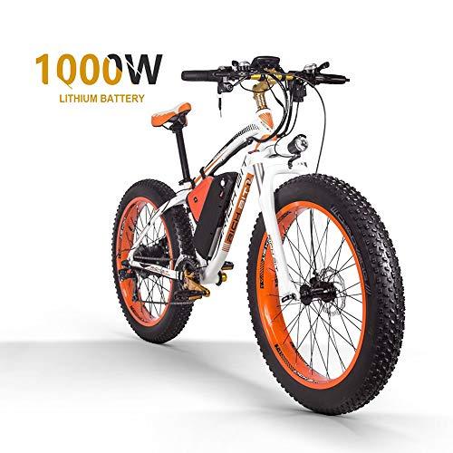 """Sea blog Fettreifen Elektrofahrrad Mountainbike 26\"""" E-Bike mit 48V 16Ah/1000W Lithium-Batterie und Shimano 21-Gang Vollfederung hydraulische Scheibenbremse Elektrisches Fahrrad,White+orange"""