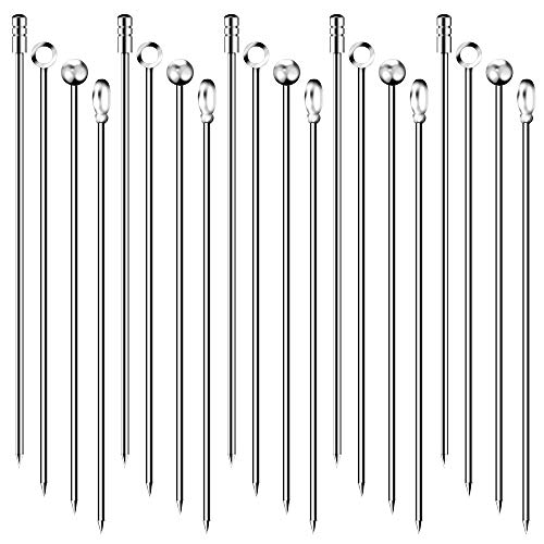 20PCS Cocktail Picks 4 Styles Cocktail Toothpicks Stainless Steel Martini Picks Reusable Metal Cocktail Skewers Sticks for Olives Appetizers Sandwich 43 Inches