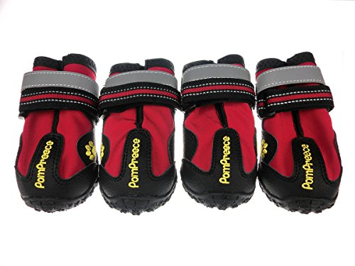 Xanday Dog Boots Waterproof Dog Shoes Paw Protectors with Reflective Straps and Wear-Resisting Soles 4Pcs (Red03)