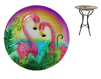 Comfy Hour Bird Meets Garden Bath Collection 23  Metal Art Flamingo Glass Top Birdbath Birdfeeder Garden Décor