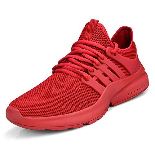 ZOCAVIA  Damen Herren Sneaker Laufschuhe rutschfest Sportschuhe Turnschuhe Fitness Sneaker, 44 EU Weit, Rot