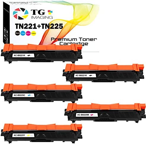 5 Pack Extra Black Compatible Toner Cartridge TN221 TN225 Color Set TN 221 2xBlack TN 225 Cyan product image