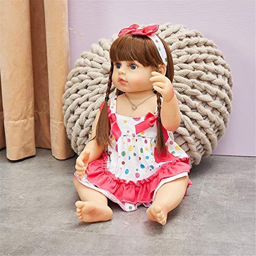 HWZZ 58CM Wiedergeborene Babypuppe Prinzessin Kleinkind Mädchen Weiche Echte Berührung Ganzkörper Silikon Hochwertige Puppe Sammlerstücke,58cm