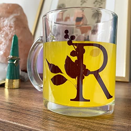 Taza de cristal personalizada con inicial para lavavajillas y microondas, con mango pequeño, tazas para amantes de la música, 11 onzas