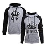 Pareja Sudaderas con Capucha Mujeres y Hombres King & Queen Corona Impresión Encapuchado Camisas Jersey Hoodie Casual (Gris&Negro, King M+Queen S)