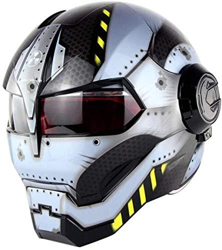 Wzglod Casco de motocicleta D.O. T certificado Motocross Casco integral Moto Flip Open Mascarilla, Iron Man Transformers M, L, XL Amarillo