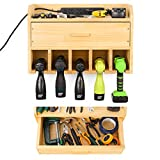 Power Tool Organizer Storage - Garage Organizer Drill Charging Station - Wooden Cordless Drill Holder Rack Wall Mount with Drawer