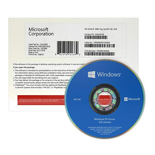 Windows 10 Home 64 bit OEM DVD - English - Full Packed Product - Windows 10 Home OEM DVD - License - 1 PC